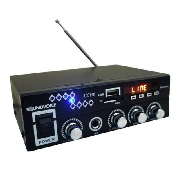 Foto do produto  Amplificador Soundvoice RC01-BT 60 Watts - Bluetooth-USB-FM-Entrada Microfone