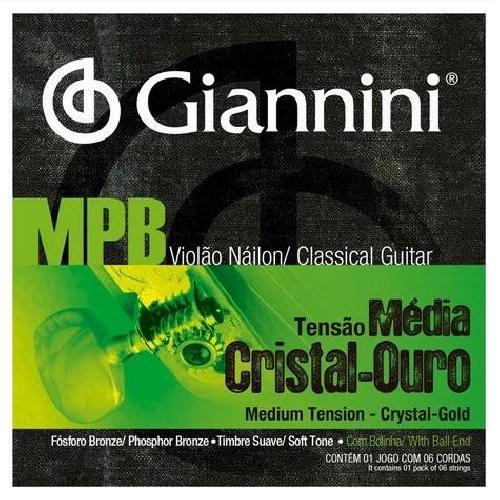 Foto do produto  Encordoamento p/ Violão Nylon Giannini MPB Tensão Média Cristal-Ouro GENWG