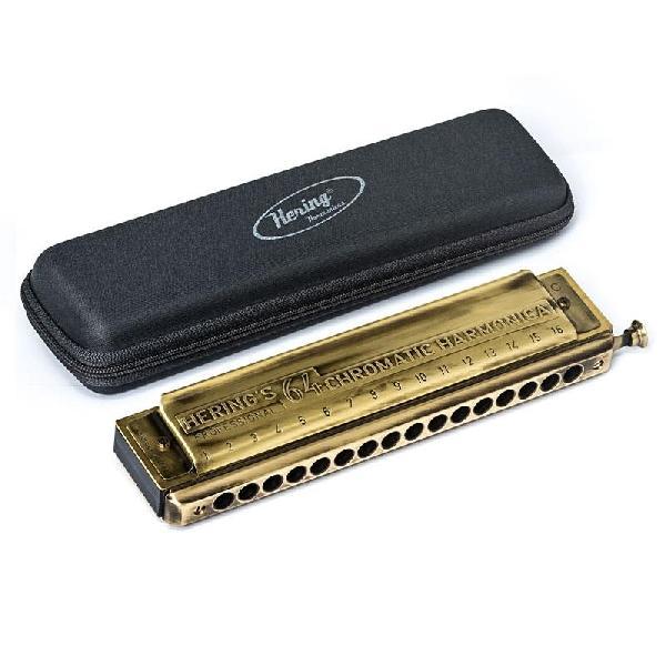Foto do produto  Gaita de Boca Hering - Chromatic 64 Antique Gold - DÓ
