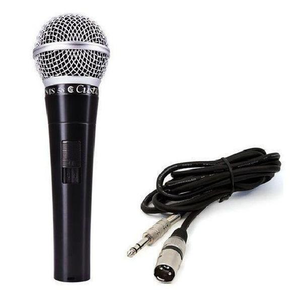 Foto do produto  Microfone Custom Sound Dinâmico Csms 58 Preto Com Cabo 5m