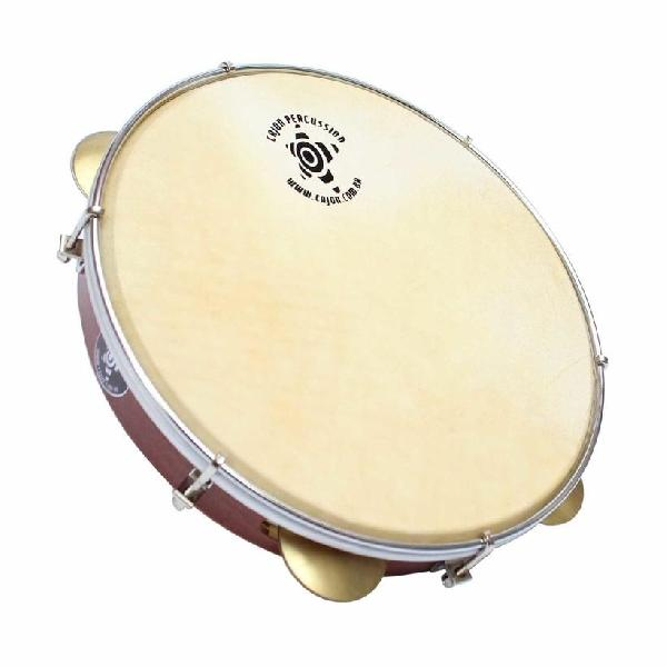 "Foto do produto  Pandeiro Start Inox Mogno tx 10"" Cajon Percussion - PSI1091A"
